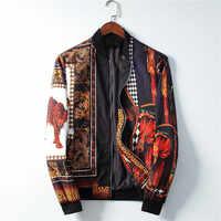 2019 nuevo Casual bombardero chaqueta hombres chaqueta guepardo impreso Streetwear Jaqueta Masculina Chaquetas Hombre Veste Homme Casaco Masculino