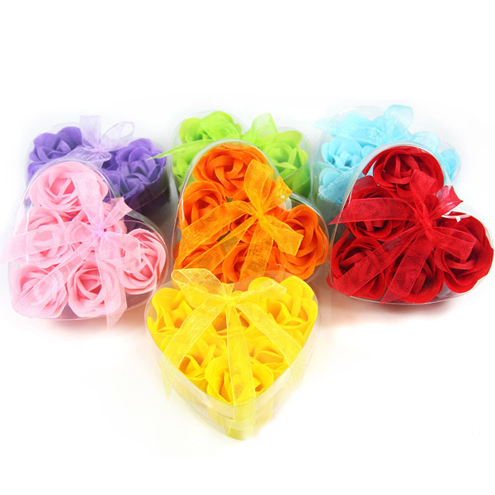 5boxes/30pcs/Lot High Quality Mix Colors Heart Rose Soap Flower For Romantic Bath And Gift Natural Food Grade Ingredient