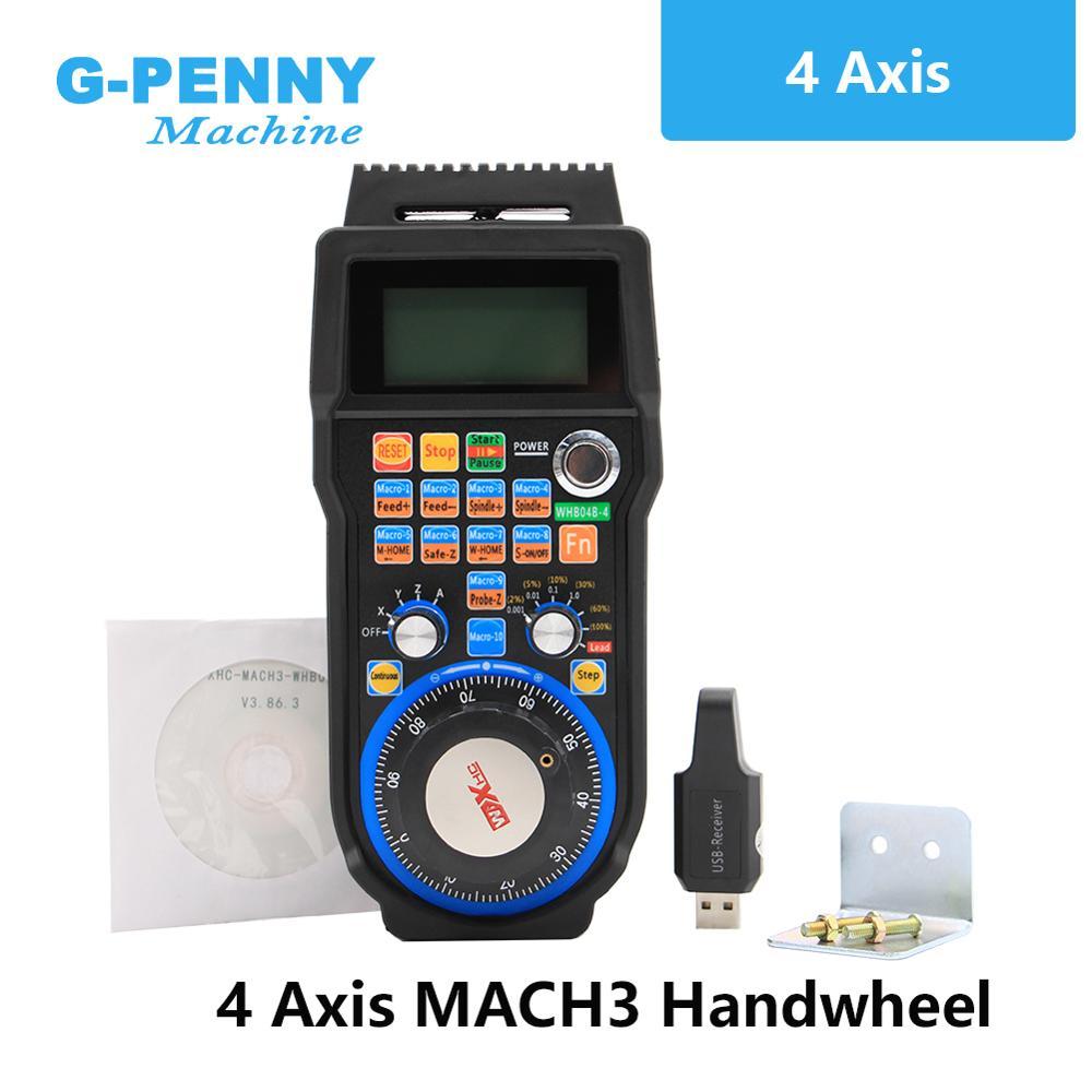 Free Shipping! Pendan MPG CNC USB MACH3 Wireless Handwheel 4 Axis Handwheel Manual USB Receiver 40 Meters Transmission Distance