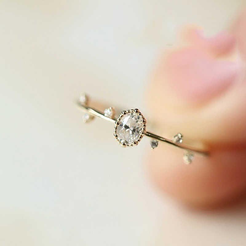 ייחודי חמוד עלה זהב/זהב סניף נסיכת טבעת זירקון CZ גבירותיי מקרית תכשיטי אופנה מתנות אלגנטי נשים של טבעת