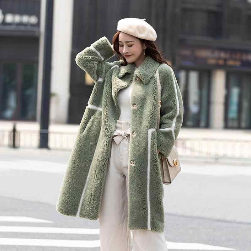 2019 nouveau hiver femmes mode lâche fausse vison fourrure veste décontracté casual Patchwork vraie laine fourrure manteau Abrigos Mujer Invierno R339