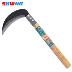 Lightweight Gardening Grass Sickle Manganese Steel Sharp Long Handle Hand Sickle Scythe for Weeding Garden Tool Agricultural