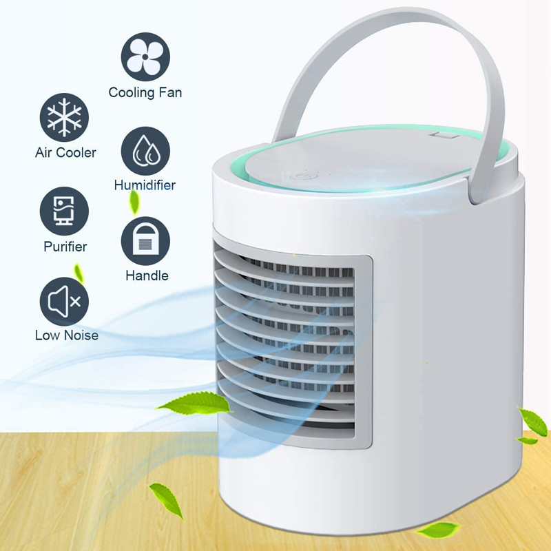 Multiple Function Mini Air Conditioner Portable Air Cooler Fan Humidifier Purifier Low Noise 380ml Water Capacity 3 Levels Speed