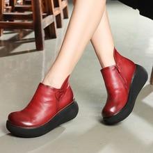 Women Genuine Leather Platform Pump Shoes
