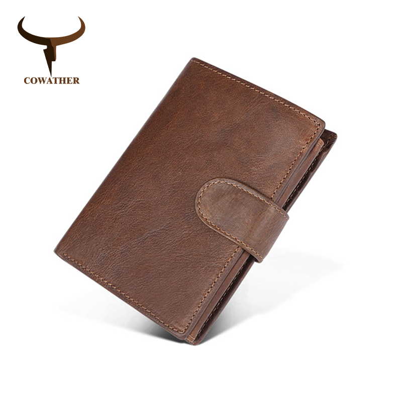 COWATHER Wallet Top Quality Cow Leather Vintage Fashion Design Purse Big Capacity Card Coin Holder Male Wallet Free Shipping