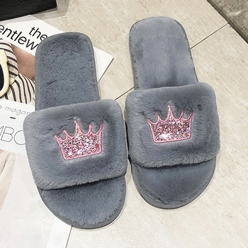 Women Fur Slippers Winter Plush Warm Flat Indoor Shoes Female Fashion Crown Pattern Home Pink Women Fluffy Slippers Slides diji girls soft coral velvet floor home indoor slippers quiet cotton fluffy slippers for women comfortable shoes black
