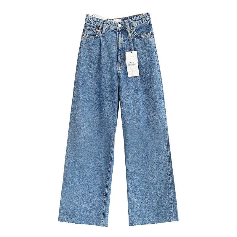 2020 Women Blue Pleated Wide Leg Pants Woman's Jeans High Waist Pockets Long Denim Trousers Female Casual Streetwear Solid