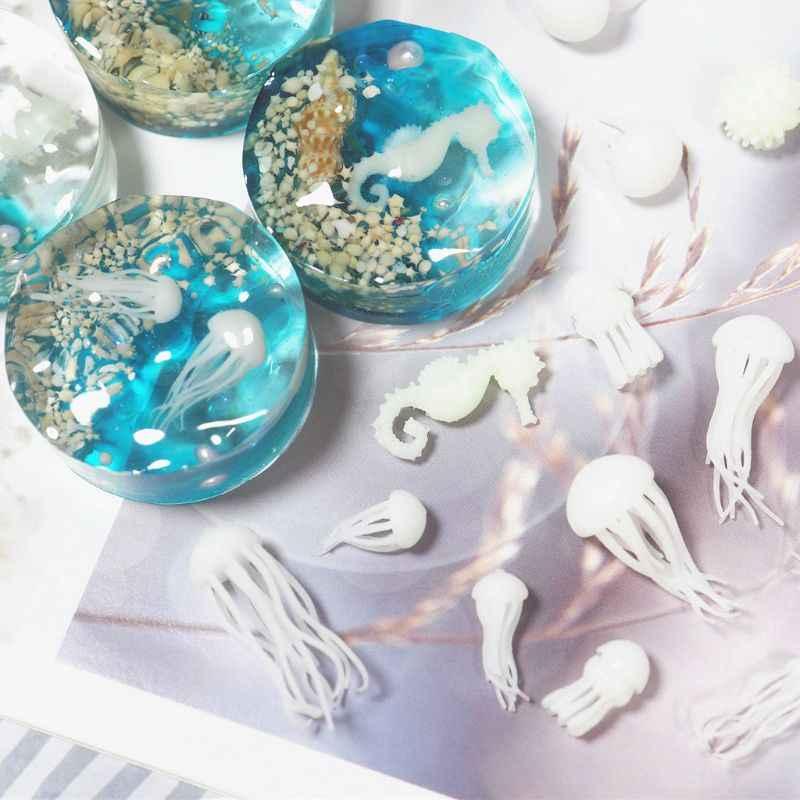 Mini Medusa modelado molde de resina epoxy océano tema rellenos DIY materiales de relleno