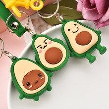 2019 Fashion Cartoon Avocado Key chain Pendant PVC Soft Plastic Fruit chains Women Bag childrens Toy Ring