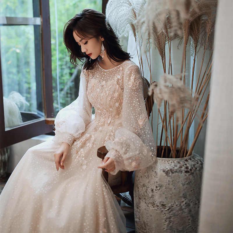AE713 שמלת ערב שמפניה ארוך שרוולים פרחוני הדפסת רוכסן אונליין אורך קיר פרחי ערב שמלות מפלגה שמלות