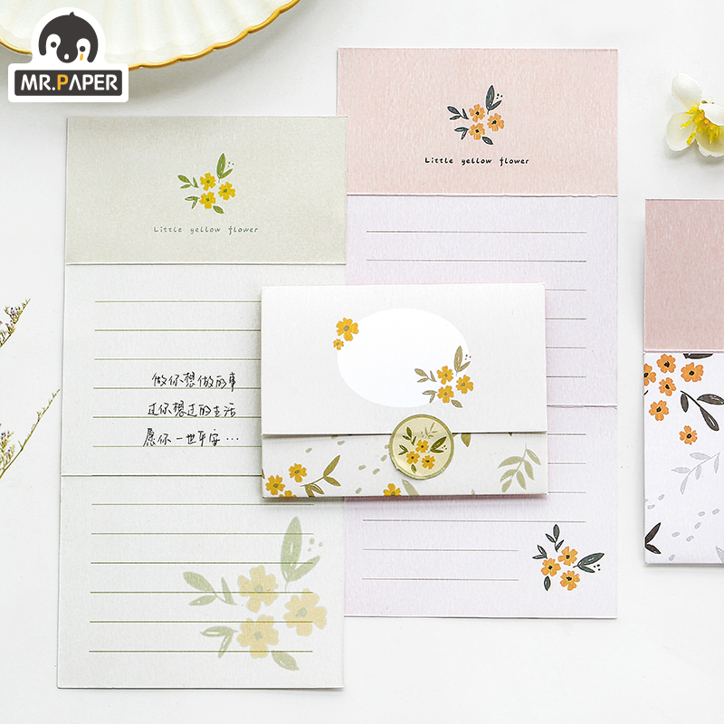 Mr.Paper Chinese Ancient Style Flowers Greeting Card Butter Paper Envelopes with Seal Stickers Wonderful Creative Gift Envelopes 2