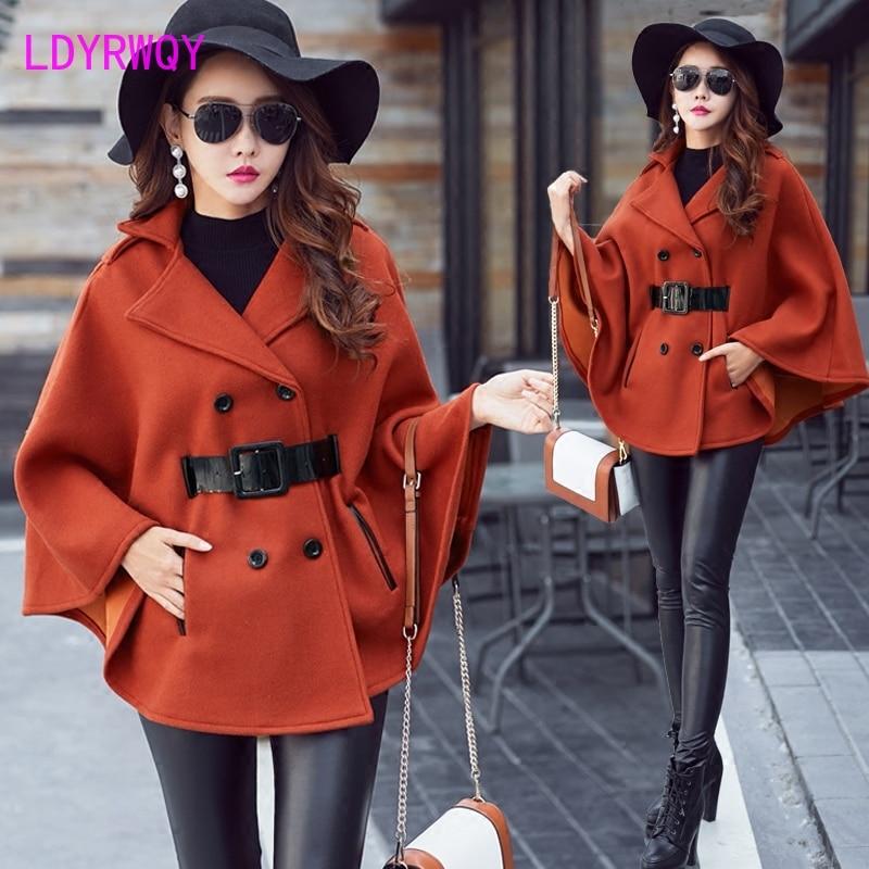 2019 women's autumn and winter new Korean version of the thick long woolen coat coat small woolen cape coat bat