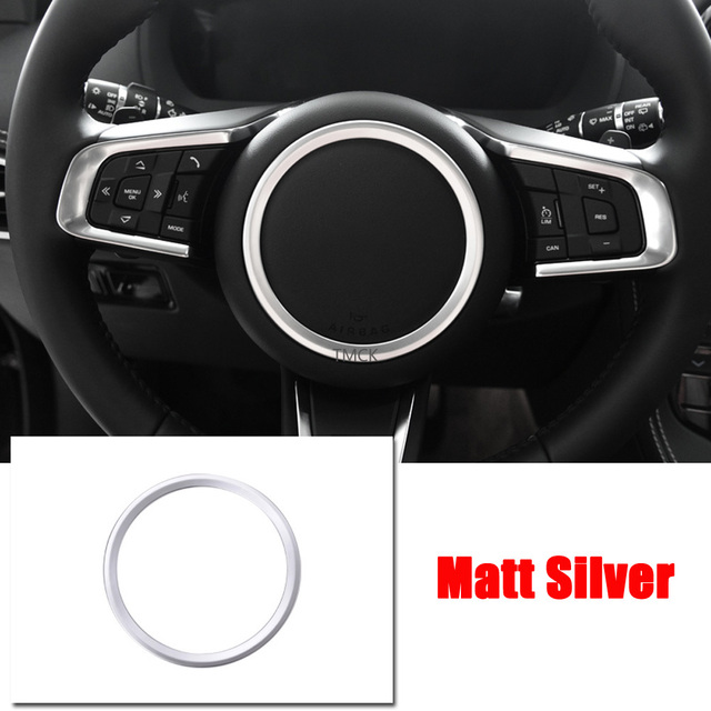 ABS Chrome Car Accessories Steering Wheel Ring Sticker Logo Frame Trim for Jaguar F-Pace X761 XE X760 XF/XFL X260 E-PACE F-TYPE 5