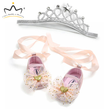 New Cute Unicorn Flower Newborn Baby Shoes Headband Set Soft