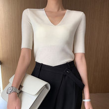 Fashion Tide New Spring And Summer Fashion Women Clothes Vacation V-neck Short Sleeves Wool High Quality T-shirt WF31711M(China)