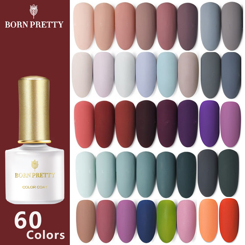 BORN PRETTY 60 Colors Matte UV Gel Nail Polish 6ml Pure Nail Color Matte Top Coat Soak Off Nail Art Gel Varnish Nail Gel