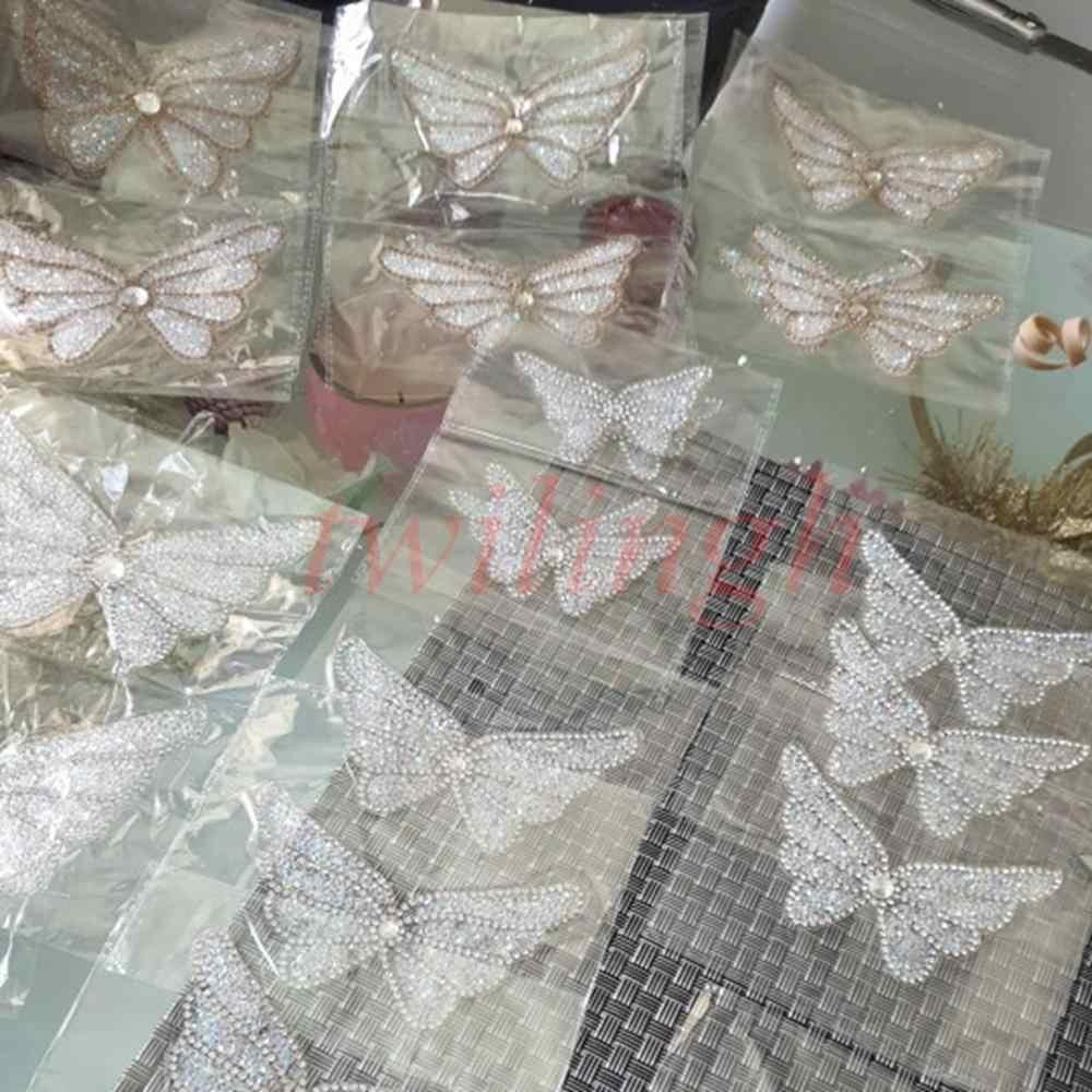 蝶ホットフィックスラインストーンパッチゴールドシルバーで AB クリスタルモチーフ服 diy 手作りアップリケの服パッチ