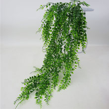 Green Artificial Plant Office Home Bar Decorative Garden DIY Club Wall Hanging Leaves Fake Vine Plastic Living Room(China)