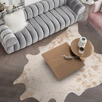 Big size natural shaped cowhide faux fur rug decorative gold stamped pattern artificial fur floor mat