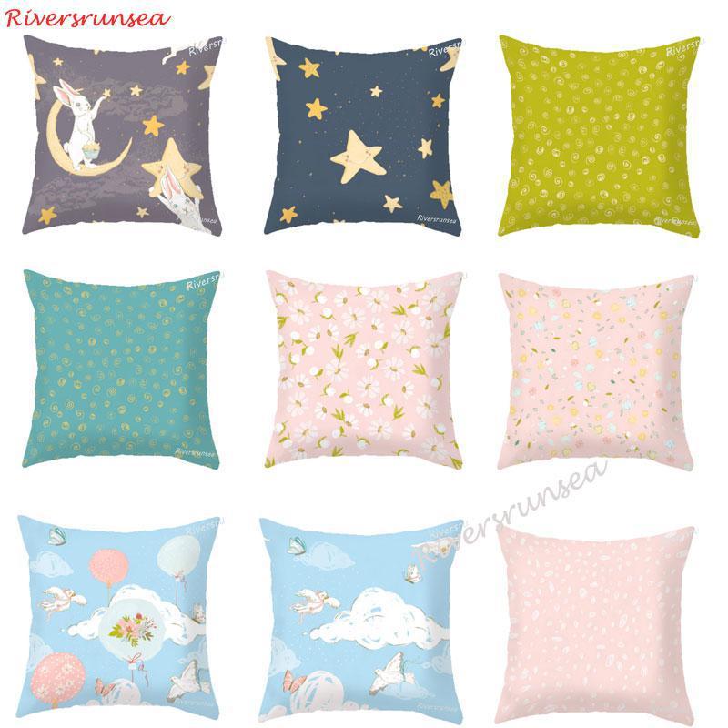 Cute Cartoon Rabbit Cushion Pink Flower Bird Balloon Decorative Throw Pillows Bunny Pillow For Girl Kids Bedroom Decoration