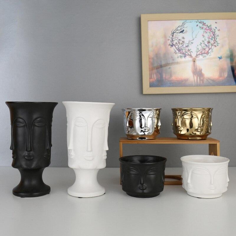 Nordic Faceted face Ceramic flower pot Matte matte Gold Silver Creative flower pot decoration