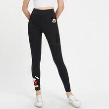 Leggings negros con estampado de Mickey Minnie para mujer Pantalones largos ajustados de ocio con cintura elástica de otoño 2019