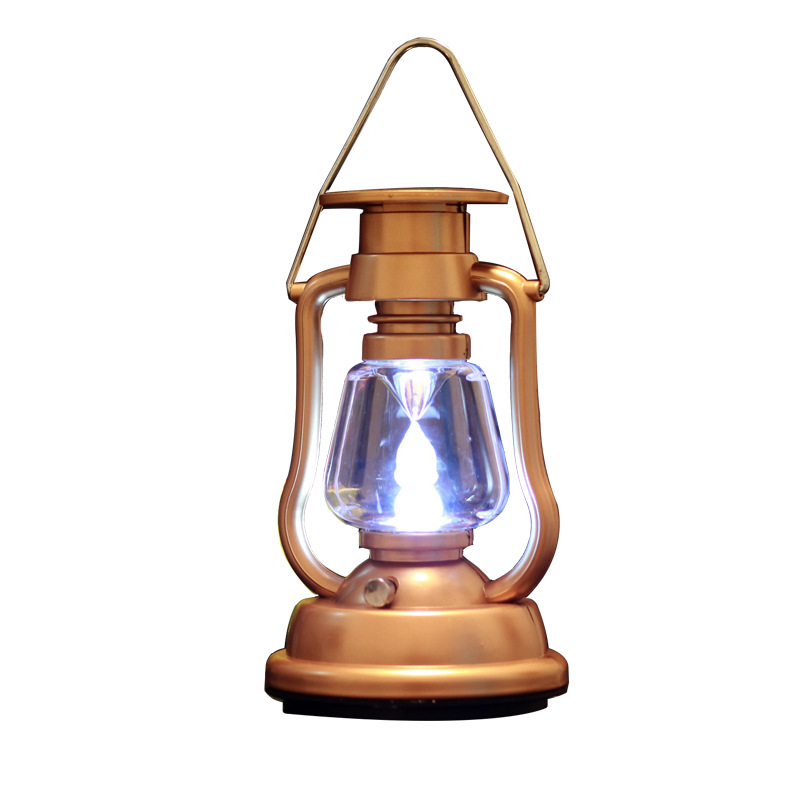 Outdoor Solar Tent Light Rechargeable Lantern LED Retro Kerosene Lamp Hand-cranking Emergency-Camping Power Generation Hanging L