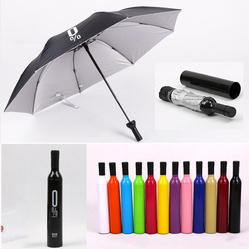 New Creative Women Wine Bottle Umbrella 3 Folding Sun-rain UV Mini Umbrella For Women Men Gifts Rain Gear Umbrella sale