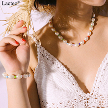 Lacteo Bohemian Imitation Pearl Choker Necklaces for Women Statement Colorful Bead Clavicle Chain Necklace 2019 fashion Jewelry lacteo punk alloy silver color sunflower pendant necklace statement colorful bead pearl chain choker necklaces female jewelry