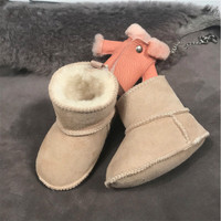 Winter Snow Boots for Baby Genuine Leather Sheep Fur Toddler Botas Infant Boots Boy Girls Bootie Kids Snowshoes Handmade 2019
