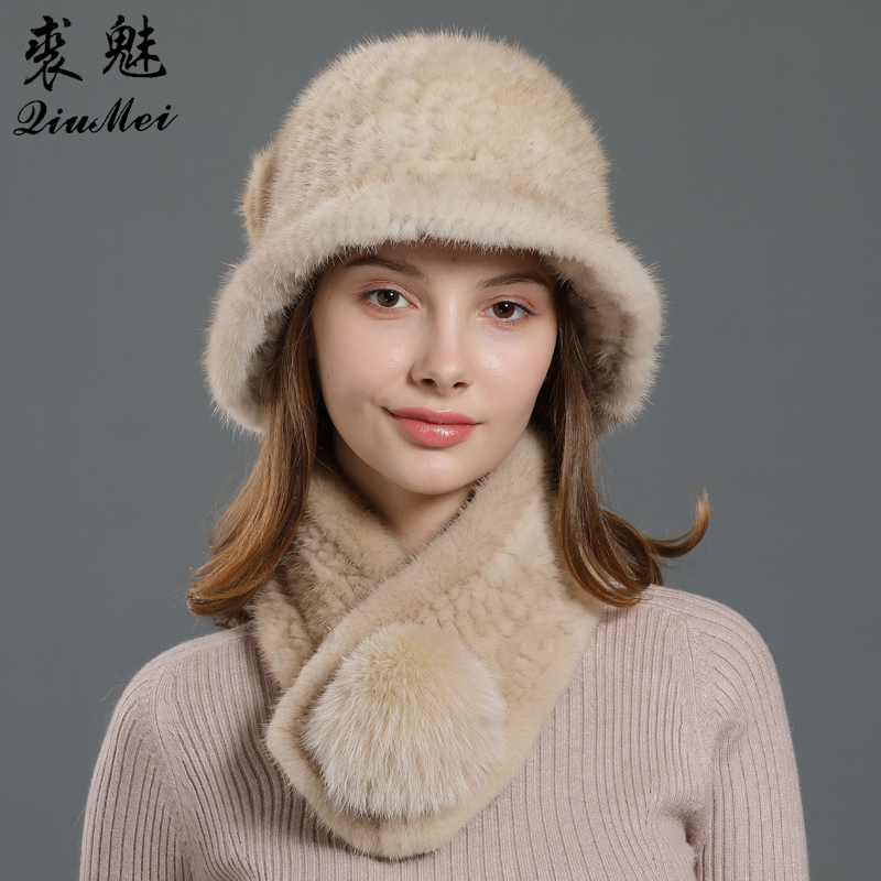 Mink Fur Hat Scarf Set Natural Fur Neckerchief Caps Real Fur Knitting Winter Genuine Fox Fur Beanie Fedoras Muffler Two Piece