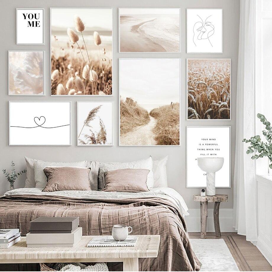 Plaża Reed pszenica linia miłość pocałunek dziewczyna twarz obraz ścienny na płótnie Nordic plakaty i druki zdjęcia ścienny do wystrój salonu