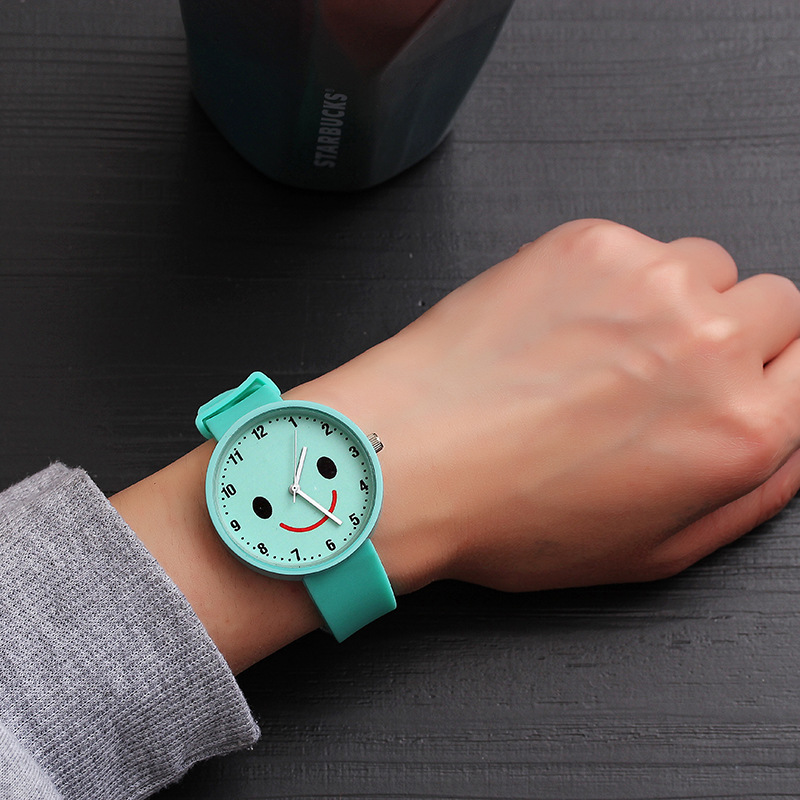 Children's Cartoon Watch Fashion Smiley Face Baby Hour Safety Silicone Watchband Kids Clock Waterproof Boy Transparent Student