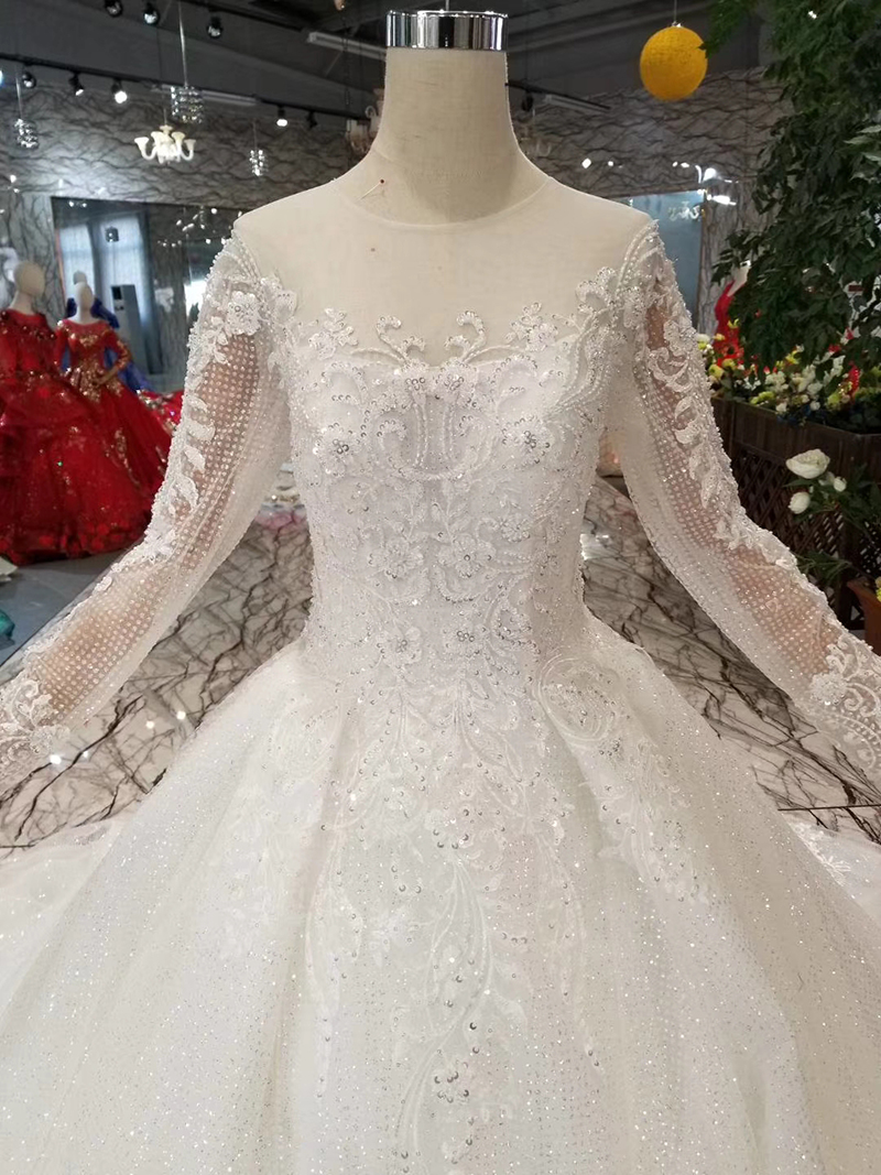Image 5 - BGW HT42911 Simple Wedding Dress For Girl O neck Long Sleeves Princess Wedding Gowns With Train CasamentoWedding Dresses   -