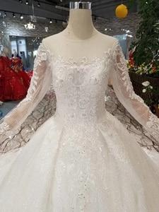 Image 5 - Простое свадебное платье BGW HT42911 для девочек, свадебные платья принцессы с круглым вырезом и длинными рукавами со шлейфом