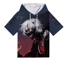 Anime Tokyo Ghoul Kaneki Ken Hooded T-Shirt Teenager Boys 3D Print Casual Short Sleeve Men's Hiphop Summer Sport tshirt Tees
