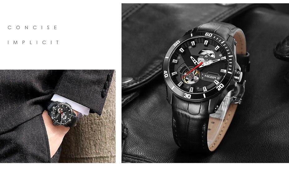 H99fca3846b48450790910ad6e50a68f14 MEGIR Men Mechanical Wristwatches Leather Strap Automatic Mechanical