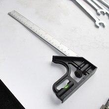 Multi-função ângulo régua transferidor combinação quadrado régua de aço inoxidável madeira medida régua perfil ferramenta de marcação