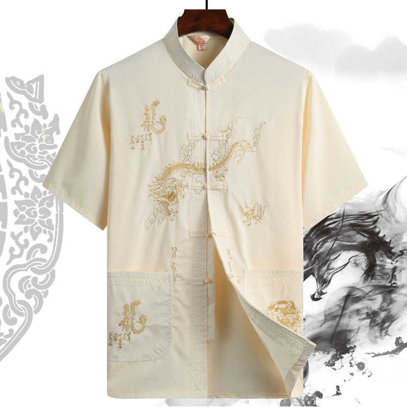 Summer Embroidery Dragon Print Blouse Tops Men Tang Suit Chinese Traditional Hanfu T Shirt Kung Fu Coat Father Oriental Cardigan