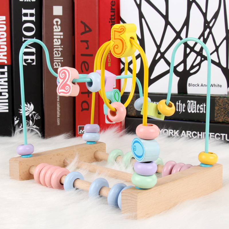 New Style Macaroon Color Desktop With Numbers Bead Rack Intelligence With Numbers Kong-Style Cognitive Fun Orbiting Wooden Play