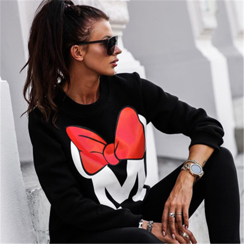 Oversize Cartoon Sweatshirts Women Mickey Letter Print O-Neck Casual Hoodies Tops Women Pullover Sweatshirts Lady Streetwear