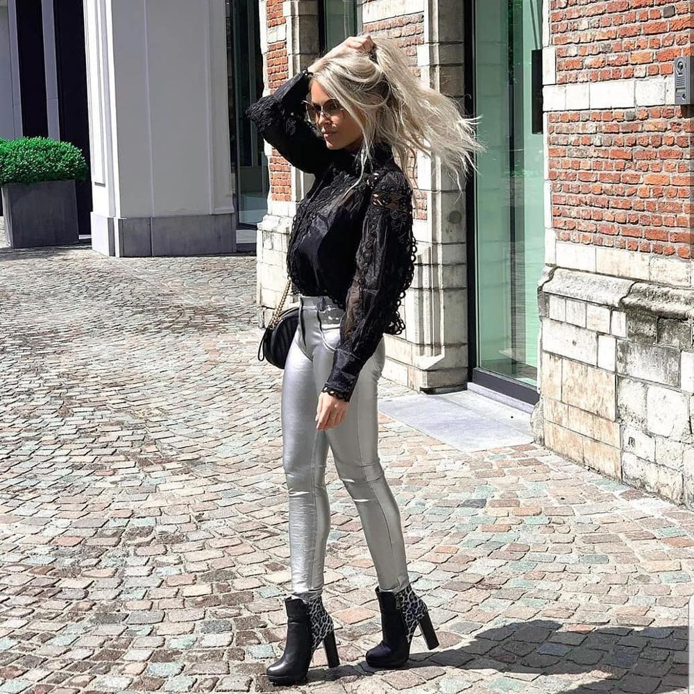 Melody Four Ways Stretchable Silver Faux Leather Pants Women Mid Rise Button Fly Push Up PU Leather Trousers Plus Size Pants