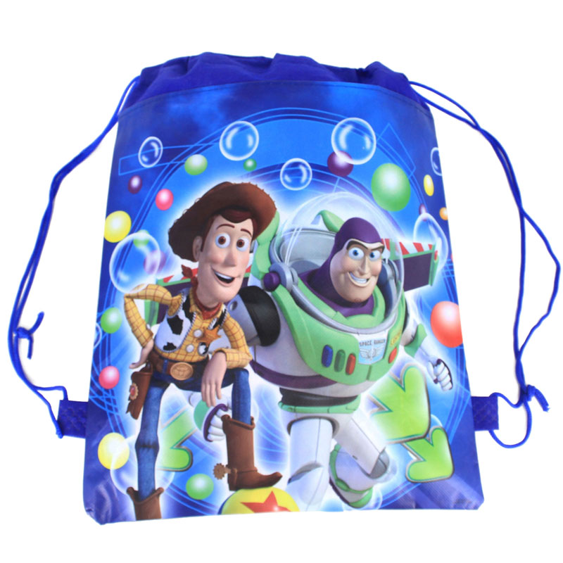 Happy Toy Story Drawstring For Kids Birthday Party Gift Bags Non-Woven Fabric Backpack Bag Baby Boy Favor Travel Bags 1pcs/lot