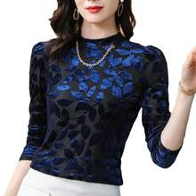 Vintage Flocking Print Women Blouses Long Sleeve O-neck Korean Velour Blouse Women Shirts Plus Size Women Tops Camisas De Mujer