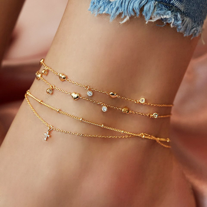 FNIO Bohemian Multilayer Anklet Cross Crystal Heart Anklets for Women Gold Color Summer Beach Foot Bracelet Jewelry 2020 New