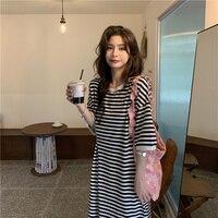2021 sommer Koreanische Version Kleid Neue Faul Brise Knie Lange Medium Lose Streifen Kleider Salz Süße Kurzarm Kleid Weibliche