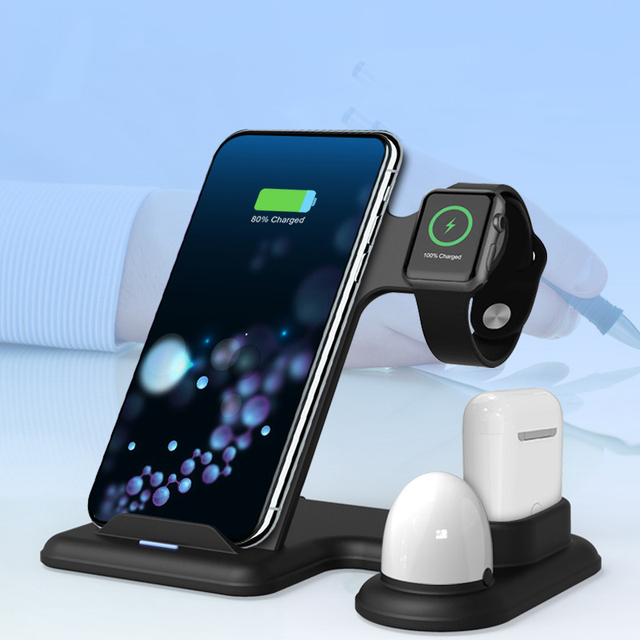Fast Wireless Charger for iPhone 11 Pro XR XS MAX Charger Dock Station for Apple Watch iWatch 1 2 3 4 5 Airpods with LED Light