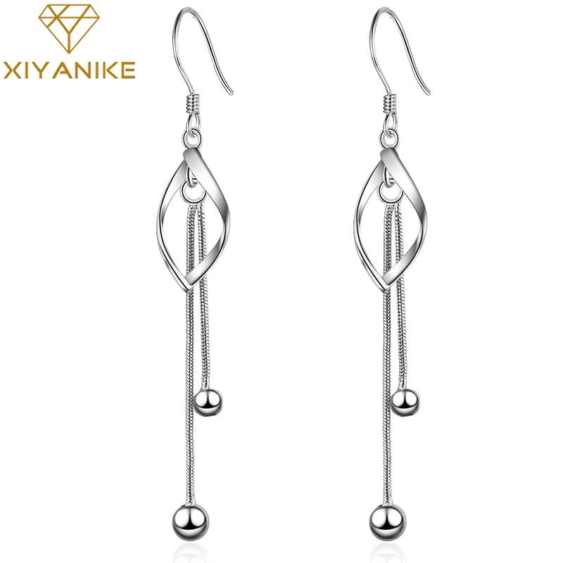 XIYANIKE 925 Sterling Silver Handmade New Trendy Tassel Crystal Drop Earrings For Women Charm Ear Jewelry Couple Gift