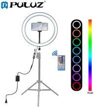 PULUZ, 12 Дюймов, 30 см, с регулируемой яркостью, RGB, полноцветный светодиодный кольцевой светильник для селфи, камера, телефон, фотография, видео, макияж, лампа, Холодный башмак, штатив