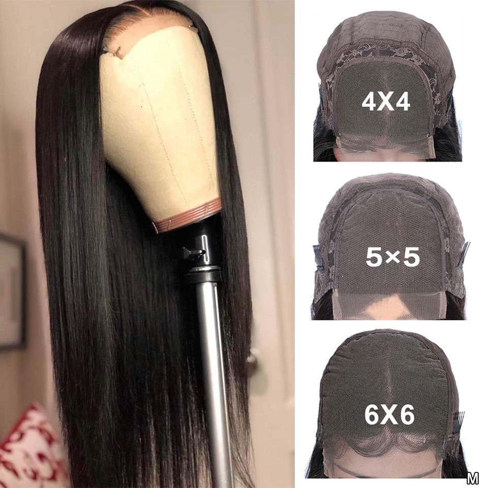 6x6 Closure Wig For Black Women 4x4 5x5 Lace Closure Wigs Brazilian Straight Glueless Lace Front  Human Hair Wigs Remy 150%